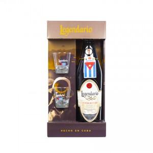LEGENDARIO Elixir de Cuba Geschenk-Set - 1 Flasche Rum-Likör 700ml 34% vol. + zwei Gläser